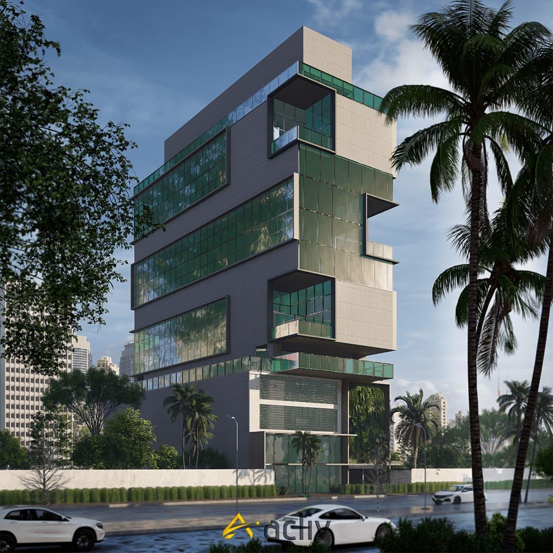 Edificio de planta aberta para instalação de centro administrativo de empresa. Projeto focado na qualidade do ambiente de trabalho, com premissas para certificação de qualidade ambiental e desempenho energético.