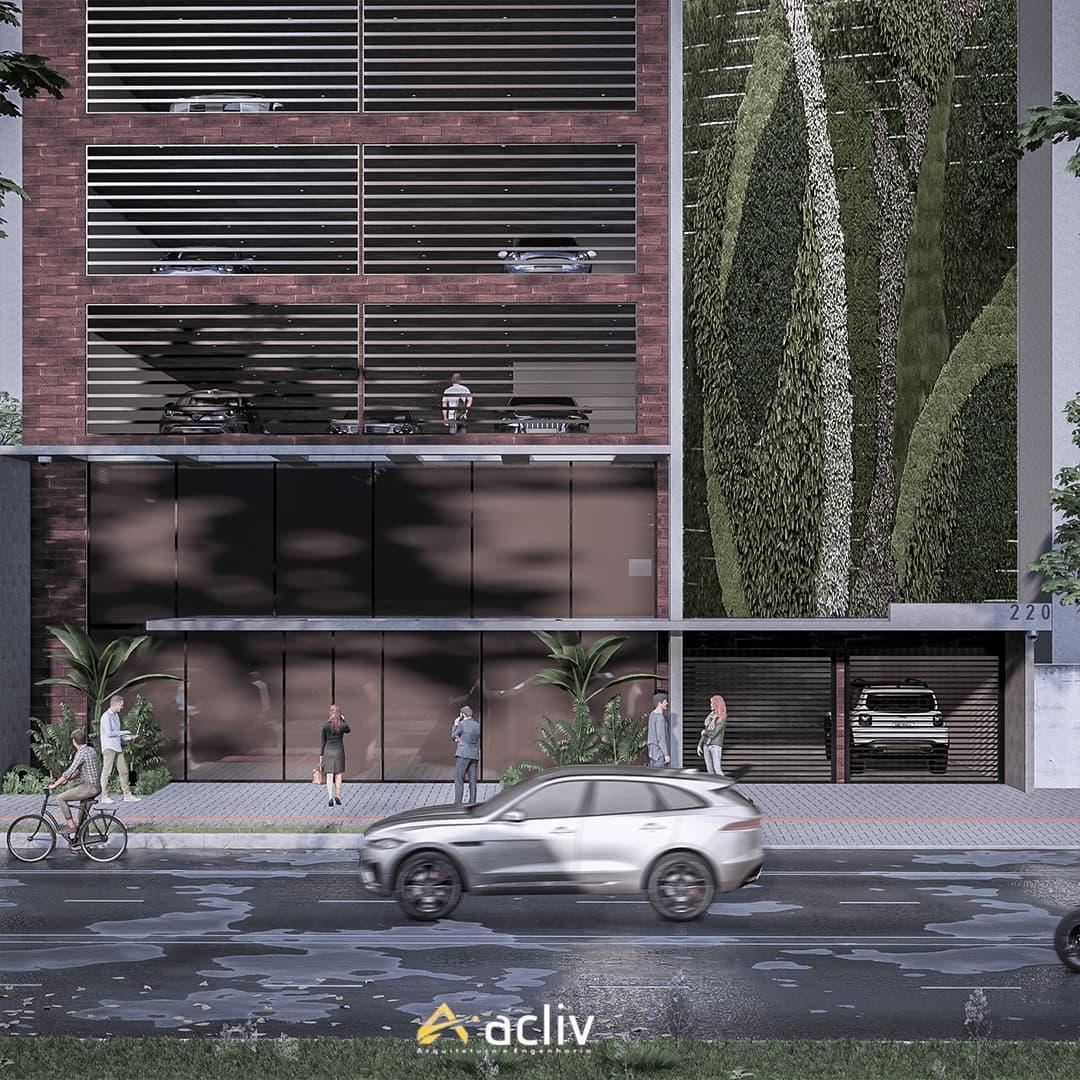 Edificio comercial com planta aberta com o objetivo de locação por pavimento. A concepção arquitetônica busca a ventilação e iluminação natural em todos os ambientes de trabalho.